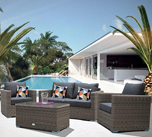 luxurygarden® canapé de jardin en rotin 2 places salon d'extérieur Meubles mod. Andresa