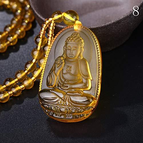 Bead Chain Necklace Citrine Pendant Ethnic Women Fine Jewelry Wedding Bijoux Buddha Lucky Natural Crystal Accessories Men (8)