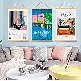 Tapiz de Figura Abstracta nórdica hogar Dormitorio mesita de Noche Pintura Tela Pintura Decorativa Eje de Madera Maciza Pintura L 50x70cm