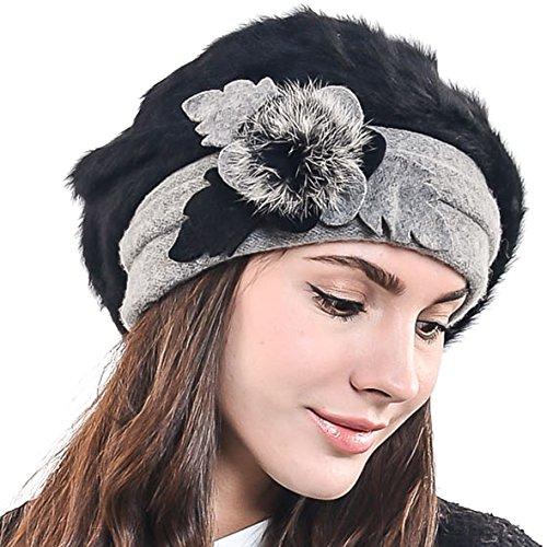 HISSHE Damen Barette Künstler Wolle Baskenmütze Angora Beanie Winter Mütze BR022 (Schwarz)