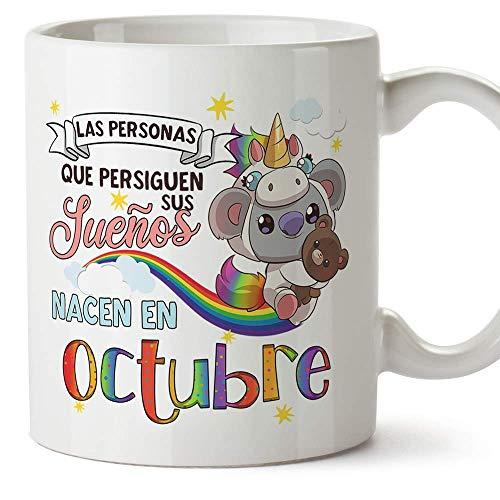 MUGFFINS Taza de Cumpleaños Koala mes de Octubre - Detalles Desayuno Feliz Cumpleaños/Aniversario. Cerámica 350 mL