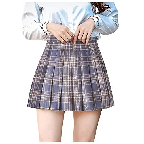 Corlidea Falda plisada JK, para mujer, niña, a cuadros, a cuadros, minifalda plisada, con tirantes, para carnaval, amarillo, XXL