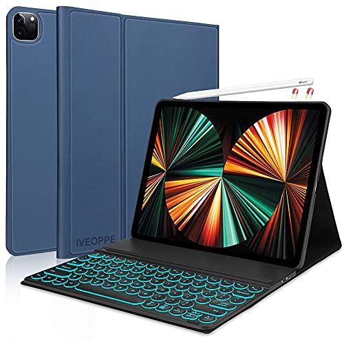 Funda con Teclado para iPad Pro 12.9 2021, Funda con Teclado Español Ñ extraíble con Bluetooth para iPad Pro 12.9 Pulgadas 4th. y 3ra. Generación, [Soporte para Carga de lápiz de iPad] Azul Oscuro