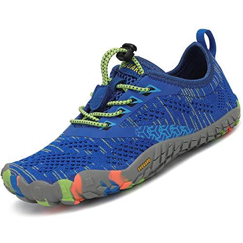 SAGUARO Calzado Descalzos Niños Zapatillas de Trail Niñas Transpirables Minimalistas Zapatos de Deporte Antideslizantes Fitness Correr en Asfalto Barefoot Zapatillas Senderismo Exterior Azul 27 EU