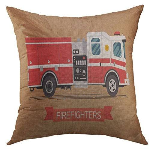 Mugod Pillow Cover Red Aid Firefighters Design Cool Emergency Vehicle Fire Engine Truck in Trendy Flat White Car City Home Decorative Square Throw Pillow Cushion Cover 16x16 Inch Pillowcase