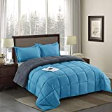 HIG 3 Piece Turquoise Reversible <span class='highlight'>Duvet</span> Double 200cm x 200cm - Baffle Box - 10.5 Tog Down Alternative <span class='highlight'>Comforter</span> Set with 2 Shams - Corner <span class='highlight'>Duvet</span> Tabs - Machine Washable & Durable - Warm, Soft, Fluffy