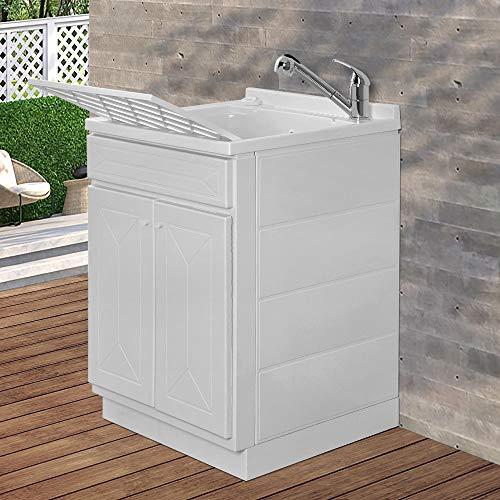 Mobile lavatoio in Resina, ideale per esterni e interni, 45x50-50x50-45x60-60x50-60x60, COMPLETO di asse lavaggio e kit sifone + piletta (60x60)