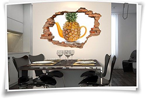 Medianlux 3D muurdoorbraak muurschildering muursticker sticker thee thee thee ananas keuken