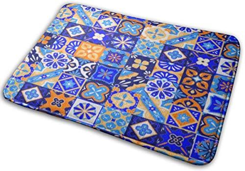 Door Mat Outside,Indoor Doormat Front Door Mat Non Slip Door Mats 24x16 Inch Colorful Pattern Mexican Talavera Tiles in Blue Orange White Yellow Pottery