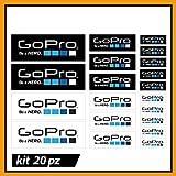 20 Adesivi PVC compatibile per Bike Moto Auto Casco Adesivi Eco23 Stickers Vinili Decals, Colori Go PRO Colors Hero 4:Hero +, Hero LCD+, 9, 8, 6, 4, 3+, 3, 2, 1