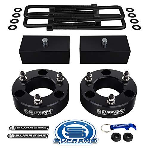 Supreme Suspensions - Full Lift Kit for 2004-2020 Nissan Titan 3' Front Strut Spacers + 2' Rear Lift Blocks + Square U-Bolts (Black)