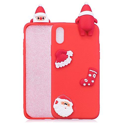 HengJun Für iPhone XR Weihnachtsserien-Kasten, 3D kreative Art- und Weisekühle Karikatur-Nette stoßsichere Gummiabdeckung für iPhone XR - A Rot