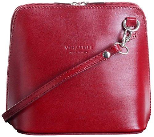 Primo Sacchi Damen Italienisches Leder Handgemacht Klein/Mikro über Leichensack oder Umhängetasche Handtasche Dunkelrot