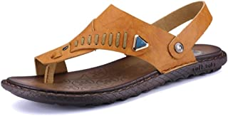 WUNONG-AU Slip On Style PU Leather Simple Solid Colors Strap Dual Purpose Sandals for Men Fashion Slipper Shoes