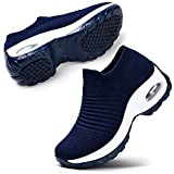 STQ Women's Tennis Walking Shoes Comfortable Athletic Mesh Slip on Sneakers Navy, 8