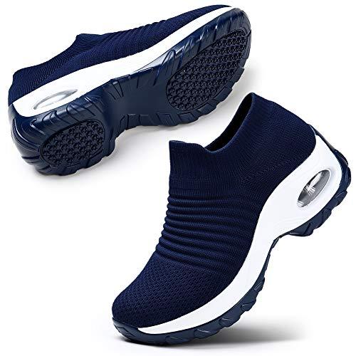 STQ Women's Tennis Walking Shoes Comfortable Athletic Mesh Slip on Sneakers Navy, 8