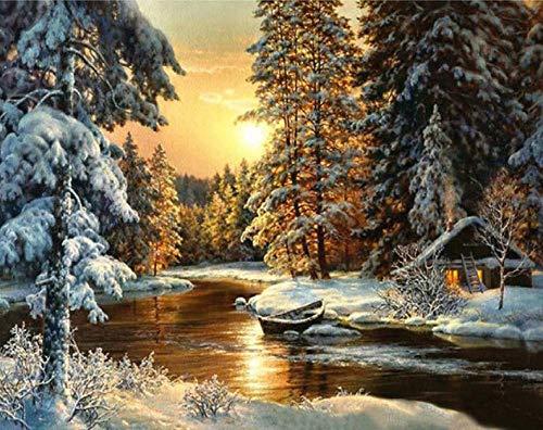 XIHAHAHA Malen Nach Zahlen Erwachsene Winterlandschaft 40 X 50Cm DIY Leinwand Gemälde Für Erwachsene Und Kinder, Enthält Acrylfarben Und 3 Pinsel (Ohne Rahmen)