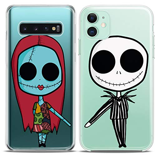 Cavka TPU Matching Couple Cases for Samsung Galaxy S20 Note 10 5G S10 A50 A11 S7 S8 Clear Nightmare Undead Couple Forever Christmas Girlfriend Her Flexible Relationship Silicone Cover Cute Print