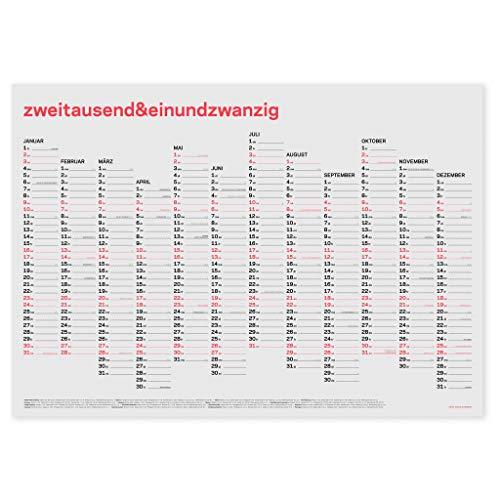 zweitausend&einundzwanzig | JAHRES-WANDKALENDER 2021 | Neon-Korall Schwarz Gold | A1 84×59 cm |rikiki (Deutsch)