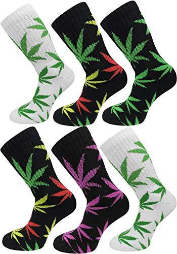 Circle Five 6 Paar Hanf Socken mit Weed Blätter Muster Größe 39/42