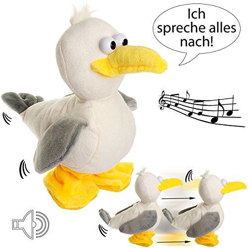 NACH sprechende - Möwe / Vogel -  Ich spreche Alles nach & laufe dazu  - aus Stoff / Plüsch - Plüschtier - mit Sound & Bewegung - spricht & plappert - Sprac..