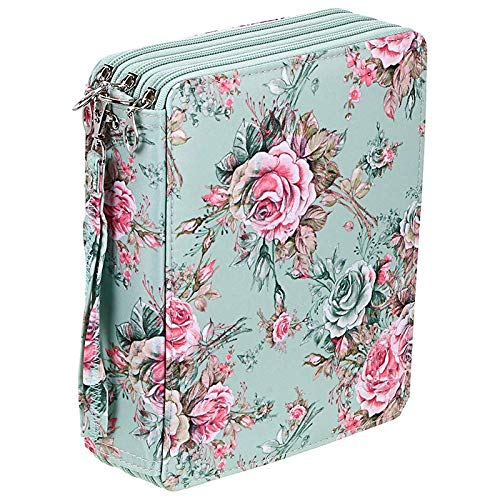 SODIAL 120 Slots Colored Pencil Case with Compartments Pencil Holder for Watercolor Pencils(Rose)