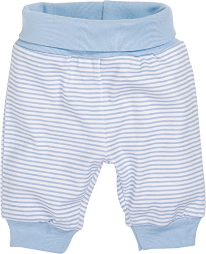Schnizler Kinder Pump-Hose aus 100% Baumwolle, komfortable und hochwertige Baby-Hose mit elastischem Bauchumschlag, gestreift, Blau (Weiß/Bleu 117), 56
