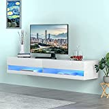 LED Floating TV Stand Wall Mounted Media Console Entertainment Center, Modern Floating TV Shelf for Under TV with Cabinet and Cable Management for Living Room Bedroom, for 80 Inch TV Screen