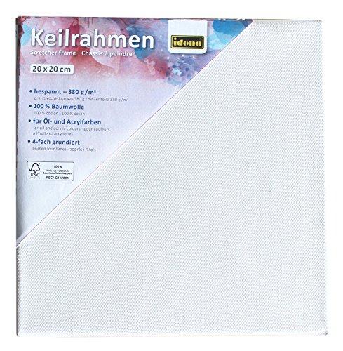 Idena 60008 - Keilrahmen mit Leinwand aus 100% Baumwolle, Grammatur 380 g/m², für Öl- und Acrylfarben, ca. 20 x 20 cm groß, weiß