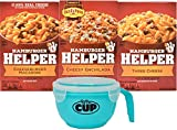 Betty Crocker Cheeseburger Macaroni, Cheesy Enchilada, and Three Cheese Hamburger Helper Variety (Pack of 3) with By The Cup Microwavable Bowl