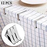 QINS 12 Piezas Clips de Mantel Abrazaderas de Cubierta de Mesa para mesas Clips de fijación de Acero Inoxidable Fiesta de Boda en el jardín