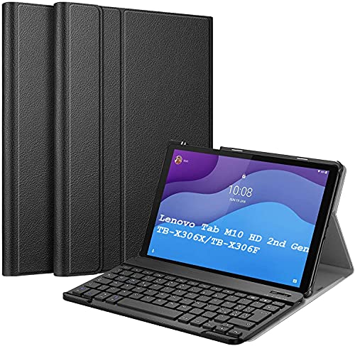 APISHUM Tastiera Custodia per Lenovo Tab M10 HD (2nd Gen) Cover, Sottile Leggera Shell Case [Inglese Layout] Rimovibile Wireless Keyboard Tastiera per Lenovo Tab M10 HD Gen 2 TB-X306X TB-X306F, Nero