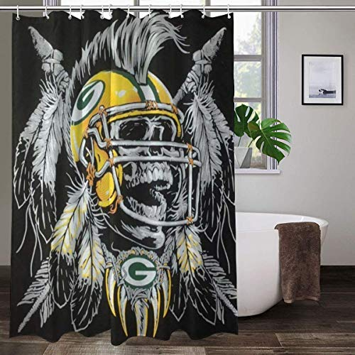 LAYENJOY Green Bay P-a-c-k-ers (38) Football Waterproof Curtain Bathroom Partition Shower Curtain Hooks Suitable for Shower Room Bedroom Bathtub(72x80 in)