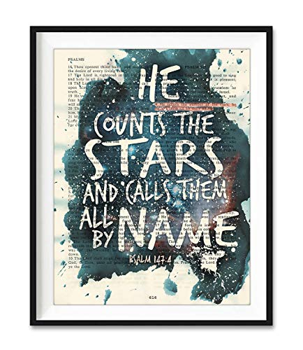 He Counts the Stars and Calls Them All By Name, Psalm 147:4, Christian Unframed Reproduction Art Print, Vintage Bible Verse Scripture Wall and Home Decor, Inspirational Watercolor Gift, 5x7 Inches