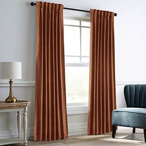 """Dreaming Casa Darkening Amber Gold Velvet Curtains for Living Room Thermal Insulated Rod Pocket Back Tab Window Curtain for Bedroom 2 Panels 52"""" W x 96"""" L"""