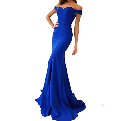 b1796d22916 Yinyyinhs Women's Off The Shoulder Mermaid Evening Dresses Long Prom Gowns