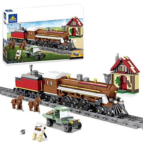 Juego de construcción de tren de ingeniería con pistas, 848 piezas con locomotora de vapor con motor y luz, ciudad, ferrocarril tren MOC, bloques de construcción compatibles con la técnica Lego