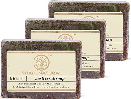 KHADI NATURAL Basil Scrub Soap, 125g (Pack of 3)