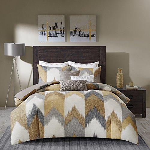 INK+IVY Alpine Cotton Comforter Set-Modern Cabin Lodge Chevron Design All Season Down Alternative Cozy Bedding with Matching Shams, King/Cal King, Yellow 3 Piece