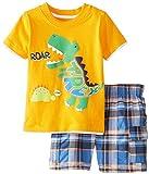 Allegorly Kleinkind Baby Kinder Junge Bekleidungssets 2 Stück Tops Cartoon Dinosaur and Alligator Drucken T-Shirt Sport Kurzarm Oberteil + Plaiddruck Shorts Badehose Kleidung Outfits Set 0-7 Jahre