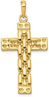 14k Yellow Gold Panther Style Cross Religious Pendant Charm Necklace Latin Fine Jewelry Gifts For Women For Her