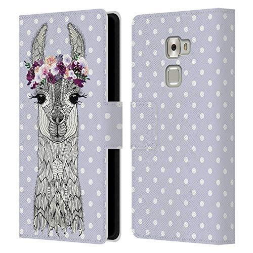 Head Case Designs Licenciado Oficialmente Monika Strigel Alpaca Lavanda Puntos de la niña de Las Flores Carcasa de Cuero Tipo Libro Compatible con Huawei Mate S