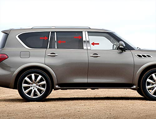 Made in USA! Compatible with 2011-2013 Infiniti QX56/2014-2017 QX80 8PC Stainless Steel Chrome Pillar Post Trim