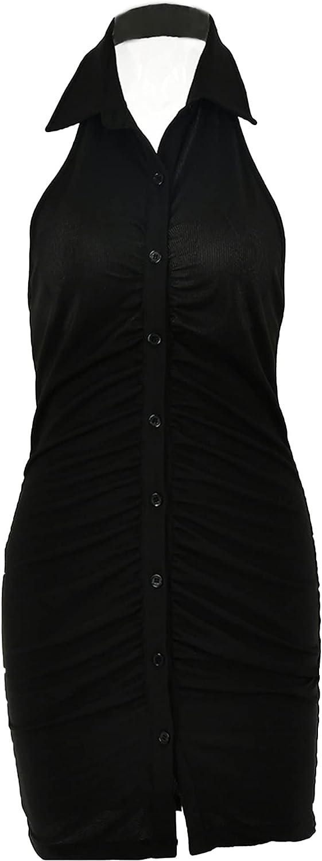 ranrann Women Halter Turn-Down Collar Bodycon Dress Sexy Sleeveless Button Ruched Club Mini Dress