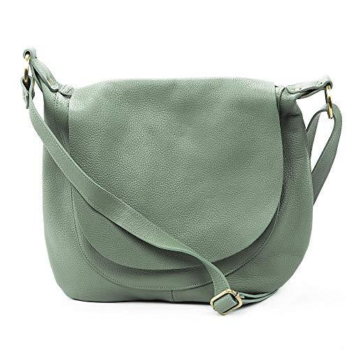 OH MY BAG - Tracolla da donna a mano, in vera pelle goffrata Made in Italy, modello Citizen, colore: blu scuro, taglia unica, (verde acqua), Taglia unica