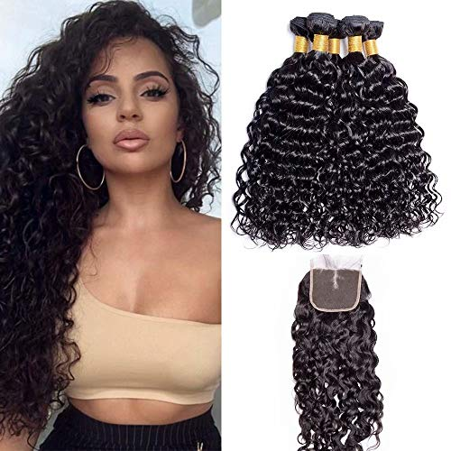 Brazilian 10A Virgin Hair Bundles with Closure Water Wave 3 Bundles With Middle Part Closure Wet And Wavy Virgin Human Hair Weave Natural Color, Shedding and tangles free(14 16 18 with 12)