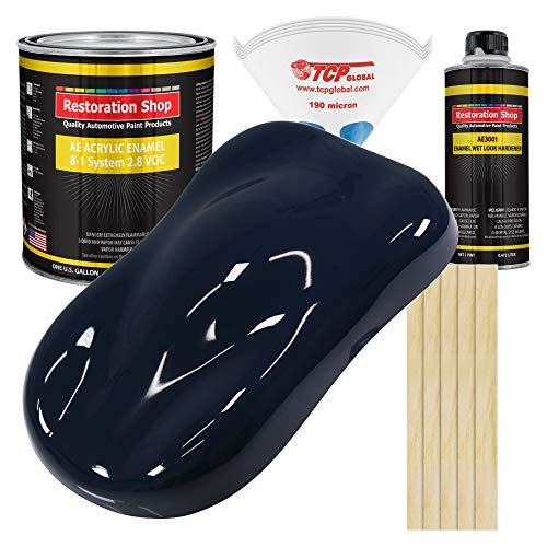 Restoration Shop - Midnight Blue Acrylic Enamel Auto Paint - Complete Gallon Paint Kit - Professional Single Stage High Gloss Automotive, Car, Truck, Equipment Coating, 8:1 Mix Ratio, 2.8 VOC