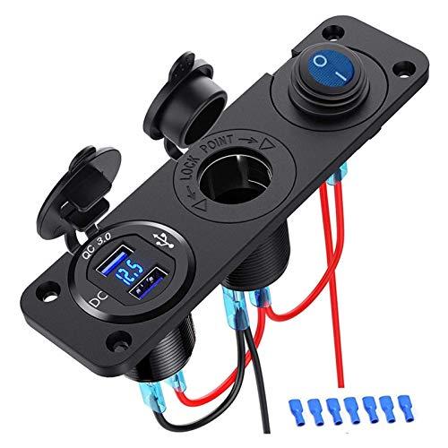 ZHANGQING QQINGZHANG Doble QC3.0 Cigarrillo Encendedor Divisor Splitter USB Cargador de automóvil Capítulo del Panel del Enchufe 250W Adaptador de Corriente a Prueba de Agua 12V (Color Name : Black)