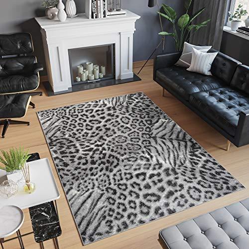 TAPISO Scarlet Deluxe Teppich Wohnzimmer Schlafzimmer Afrika Tiermotiv Leopard Tiger Grau Hellgrau Modern Design 160 x 230 cm