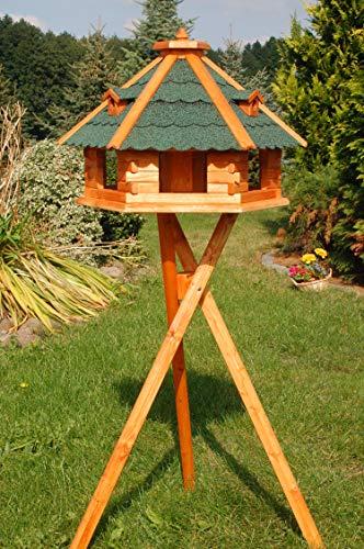 Vogelhaus von klein bis Riesig XXL Futterhaus Futterhäuschen Vogelvilla V18, Vogelfutterhaus aus Holz mit Solarbeleuchtung beleuchtet (Grün, XXL mit Ständer)